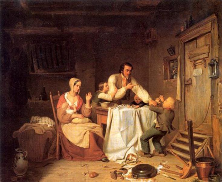 Heinrich von Rustige: Unterbrochene Mahlzeit, 1838 (Interrupted Meal)